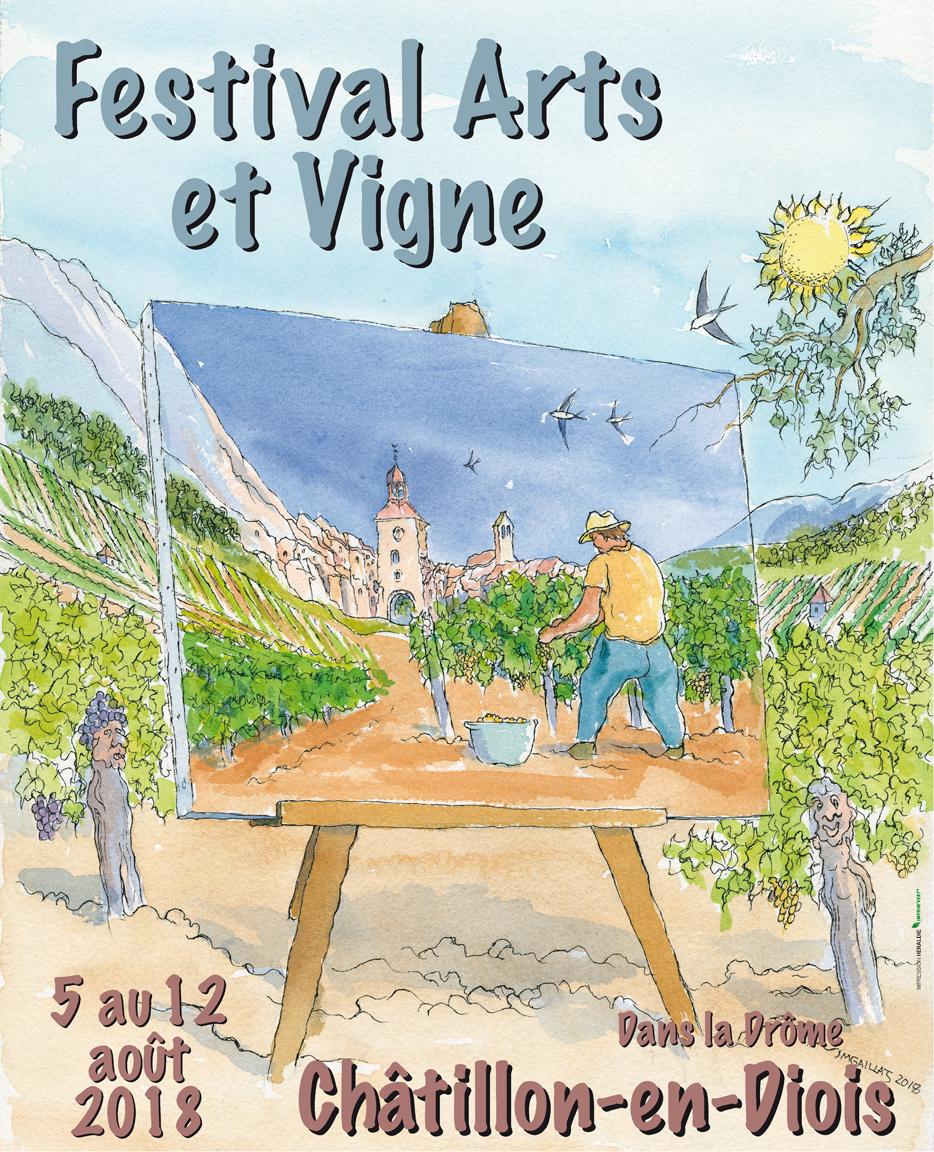 affiche, festival arts et vigne, châtillon en diois, drôme