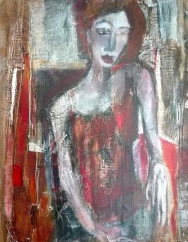 Acrylique sur toile, acrylic on canvas, autoportrait, odile touillier painting
