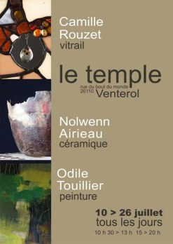 exposition collective, exibition, le Temple, vitrail, céramique, peinture acrylique,