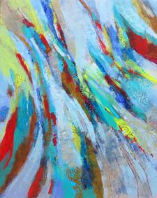 odile touillier, peinture acrylique sur toile, artiste contemporain, touillier, galerie du 10, galerie du dix, paysage, regarde la rivière chante, eau