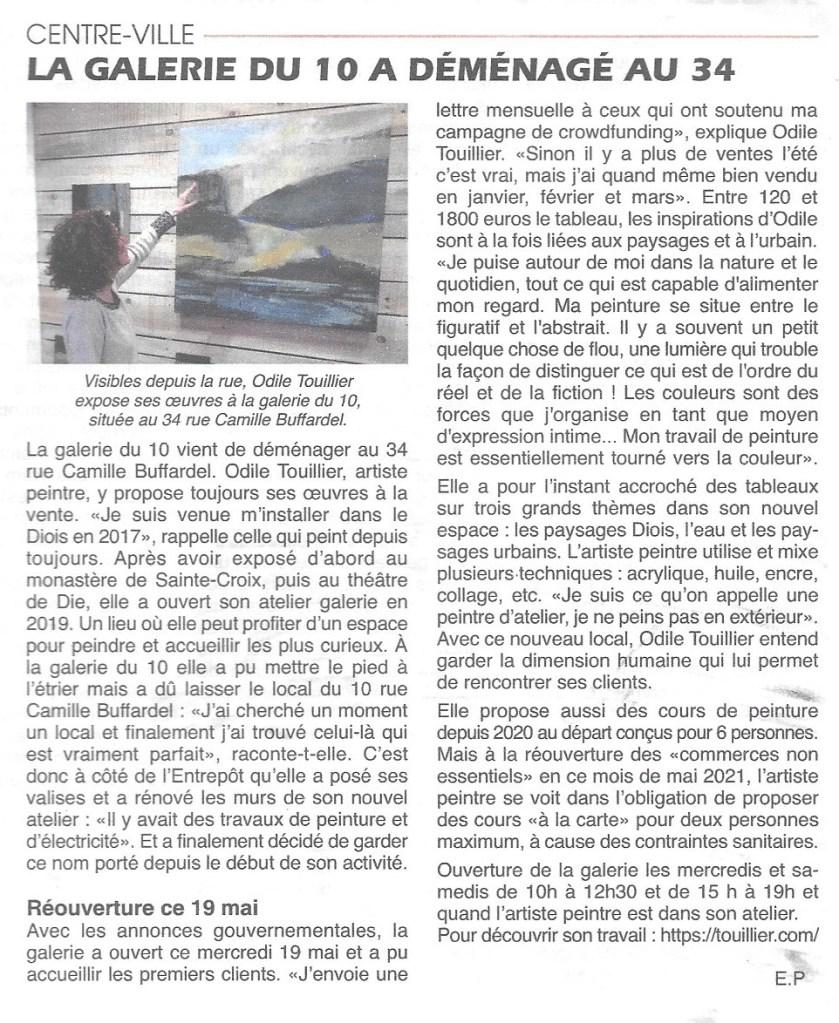 la Galerie du 10 sur Die, exposition peinture, atelier - galerie, o.touillier, le journal du Diois